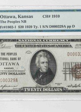 1929 Ty.1 PMG VF30 $20 Ottawa Kansas National Bank Note CH#1910