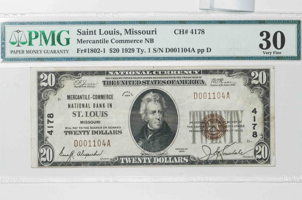 1929 Ty.1 PMG VF30 $20 Sain Louis Missouri Mercantile Commerce National Bank Note CH#4178