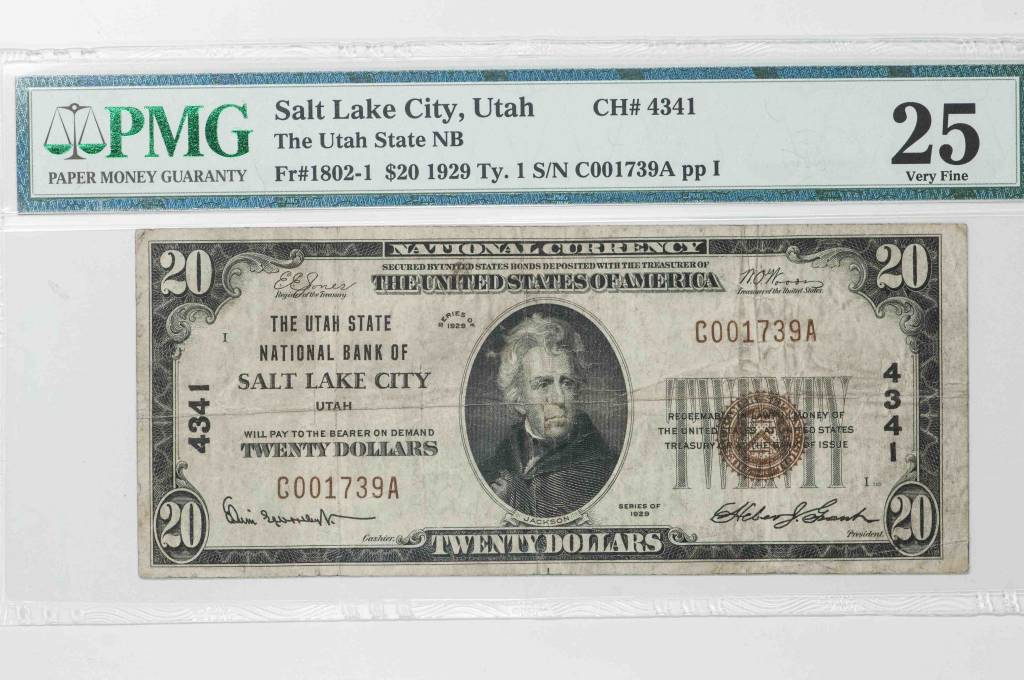 1929 Ty.1 PMG VF25 $20 Salt Lake City Utah National Bank Note CH#4341