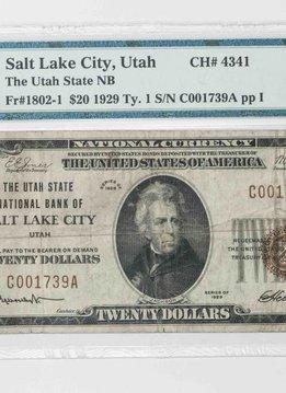 1929 Ty.1 PMG VF25 $20 Salt Lake City Utah National Bank Note CH#4341