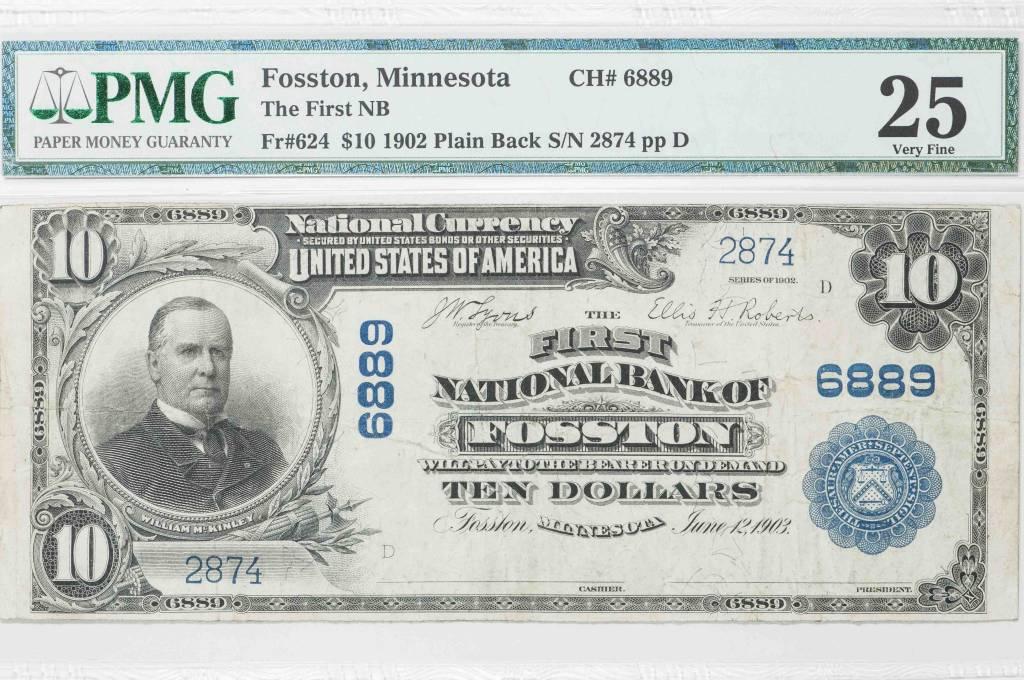 1902 PMG VF25 $10 Plain Back Fosston Minnesota National Bank Note CH#6889
