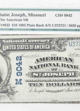 1902 PMG VF30 $10 Plain Back Saint Joseph Missouri National Bank Note CH#9042