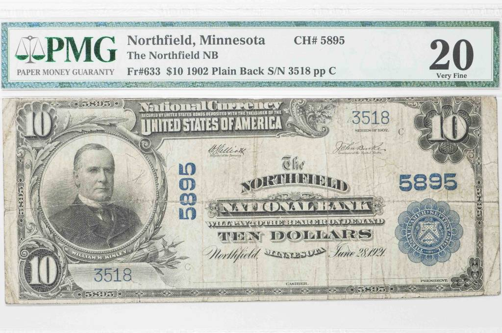 1902 PMG VF20 $10 Plain Back $10 Northfield Minnesota CH#5895