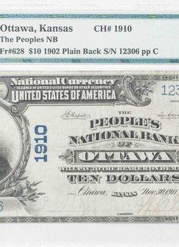 1902 PMG VF25 $10 Plain Back Ottawa Kansas National Bank Note CH#1910