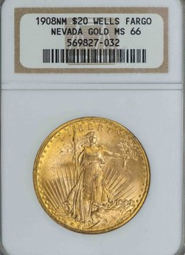 1908 No Motto NGC MS66 Wells Fargo Nevada Gold $20 Saint Gaudens Double Eagle