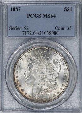 1887 PCGS MS64 Morgan Silver Dollar VAM 12 Alligator Eye