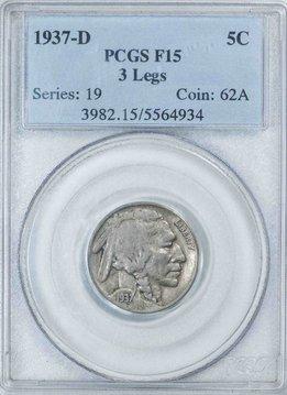 1937 D PCGS F15 3 Legs Buffalo Nickel