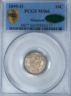 1895 O PCGS MS66 CAC Simpson Barber Dime