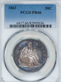 1863 PCGS PR66 Seated Liberty Half Dollar