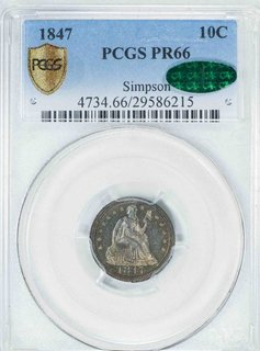 1847 PCGS PR66CAC Simpson Seated Liberty Dime