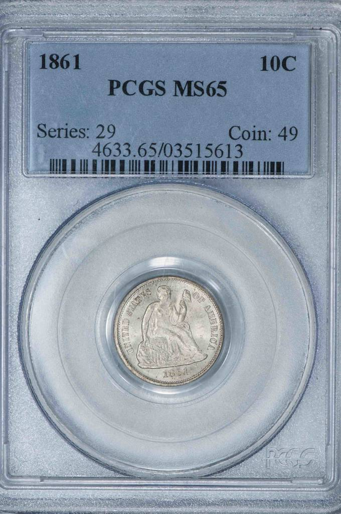 1861 PCGS MS65 Seated Liberty Dime