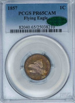 1857 PCGS PR65CAM CAC Flying Eagle Cent