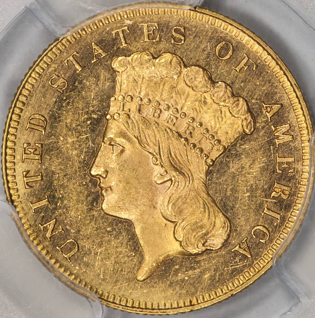 1865 PCGS MS62+ CAC $3 Gold