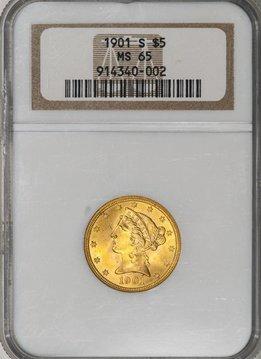 1901-S NGC MS65 $5 Gold Liberty Half Eagle