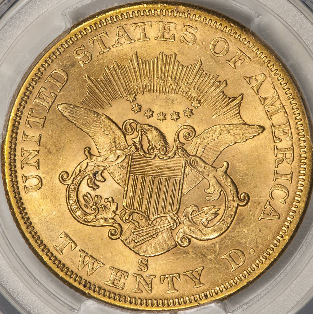 1863 S PCGS MS61 $20 Gold Liberty Double Eagle