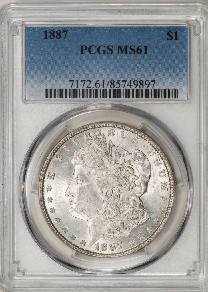 1887 PCGS MS61 Morgan Silver Dollar