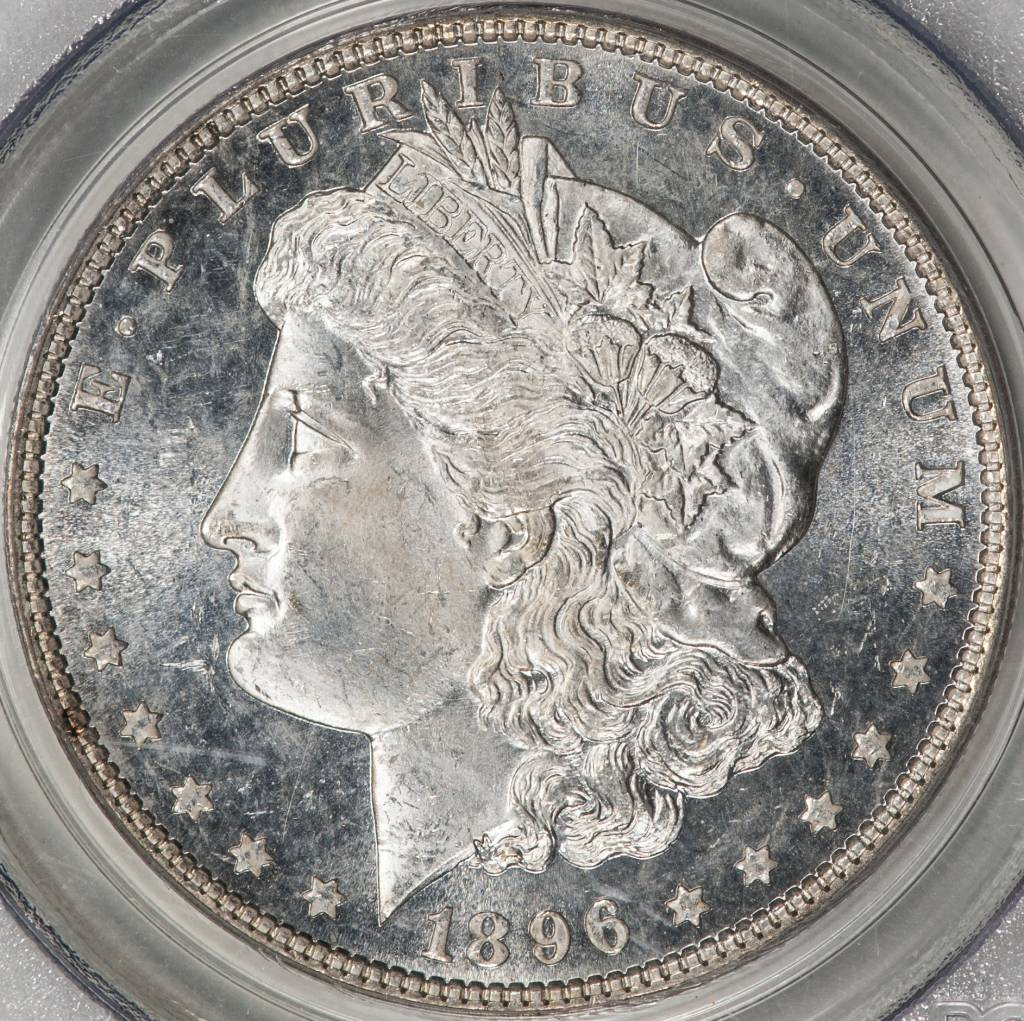 1896 PPCGS MS65DMPL Morgan Silver Dollar
