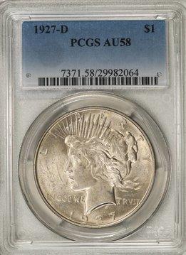 1927-D PCGS AU58 Peace Silver Dollar