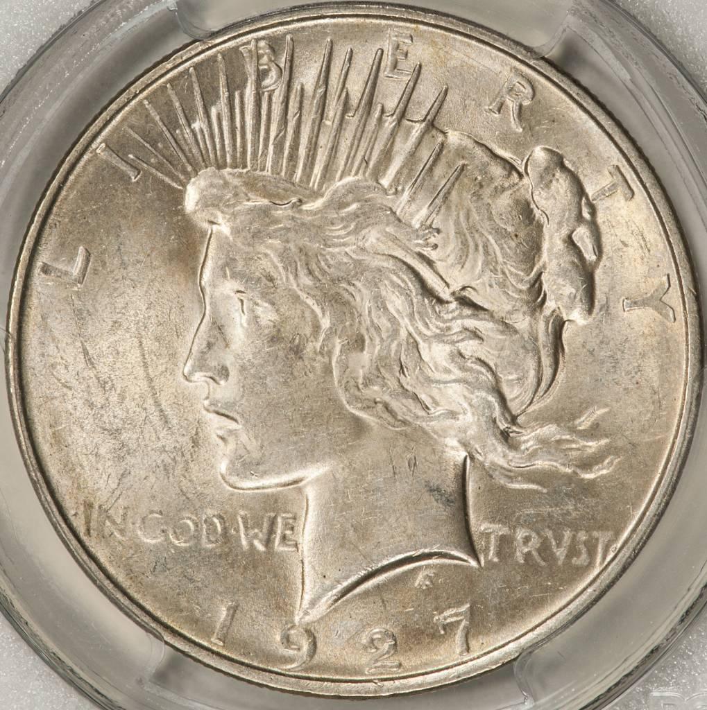 1927d pcgs au58 peace silver dollar