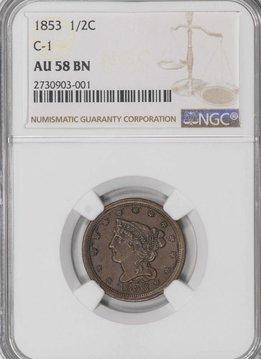 1853 1/2C C-1 NGC AU58BN