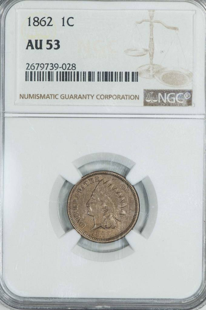 1862 NGC AU53 Indian Head Cent