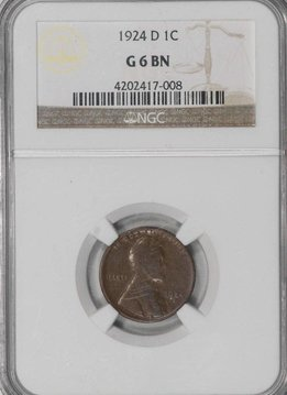 1924 D NGC G6 Lincoln Cent
