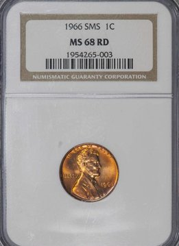1966 SMS NGC MS68RD Lincoln Memorial Cent