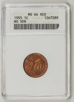 1955 ANANCS MS64RD No VDB Lincoln Wheat Cent