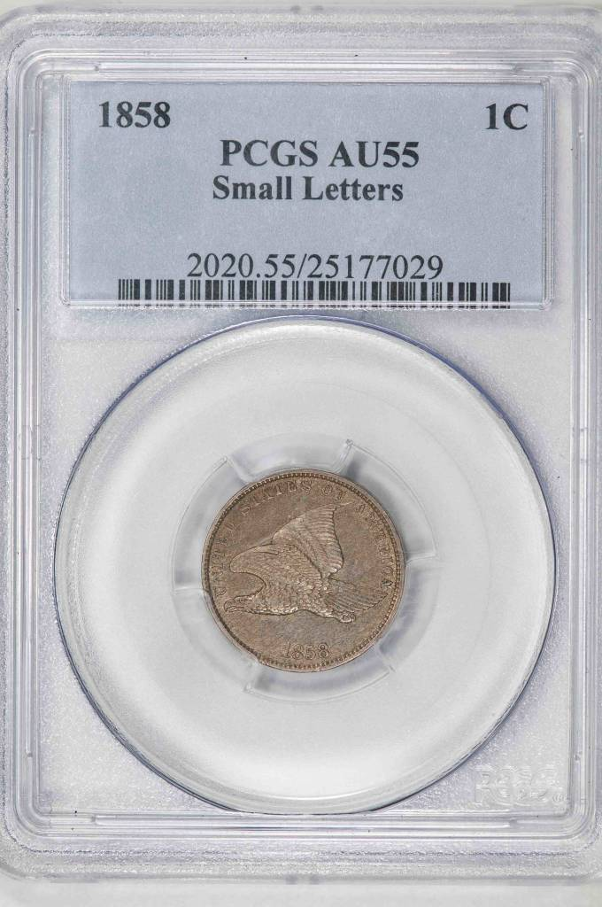 1858 PCGS AU55 Small Letters Flying Eagle Cent