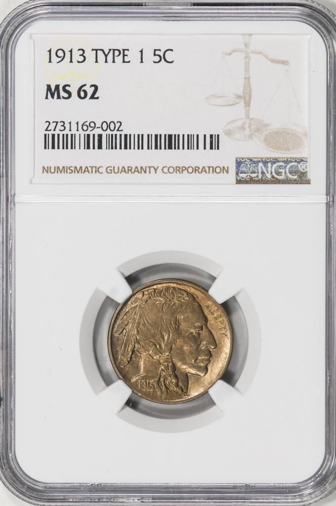 1913 TYPE 1 NGC MS62 Buffalo Nickel