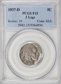 1937 D PCGS F15 3 Legs Buffalo Nickel