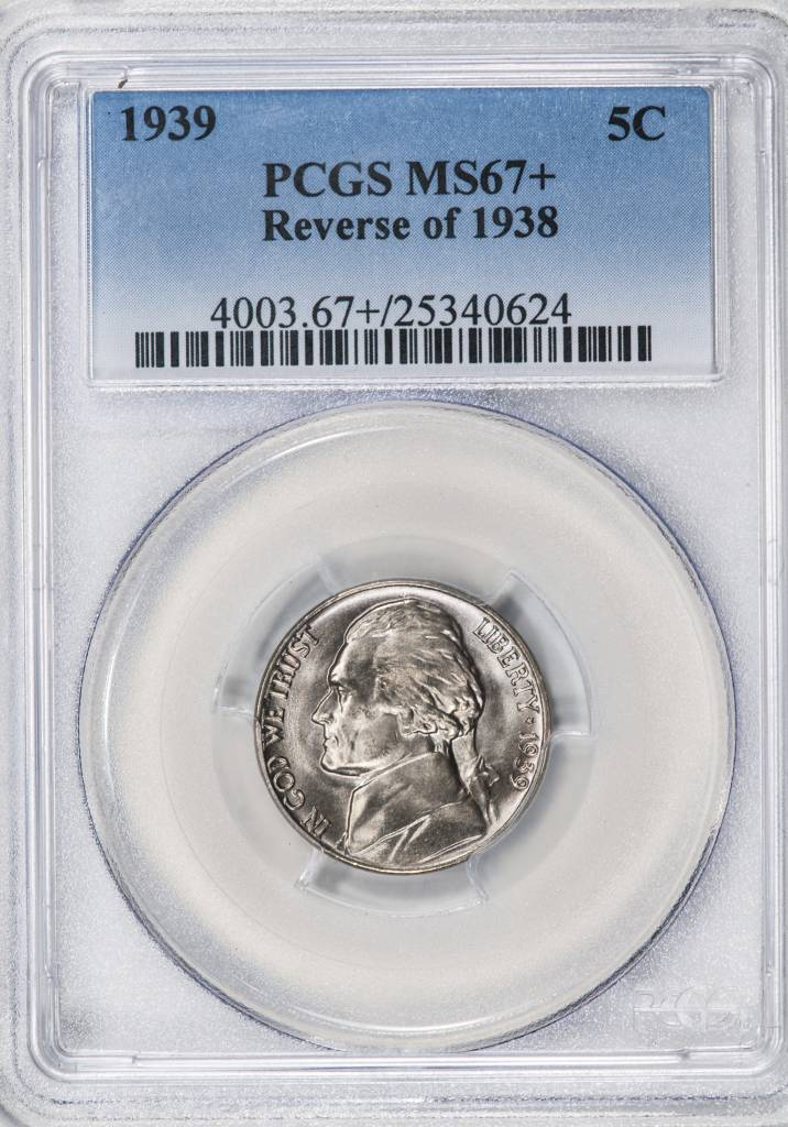 1939 PCGS MS67+ Reverse of 38 Jefferson Nickel