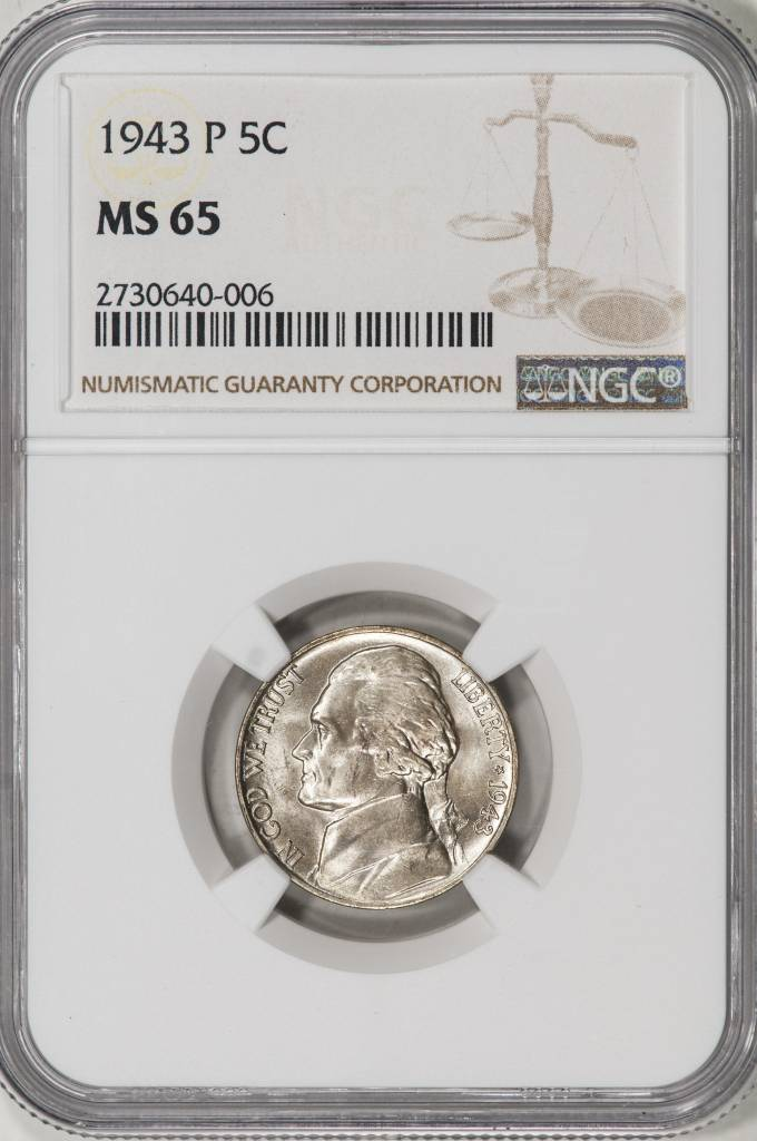 1943-P NGC MS65 Jefferson War Nickel