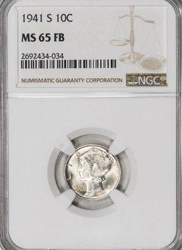1941 S NGC MS65 FB Mercury Dime