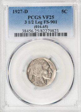 1927-D PCGS VF25 3 1/2 LEG Buffalo Nickel