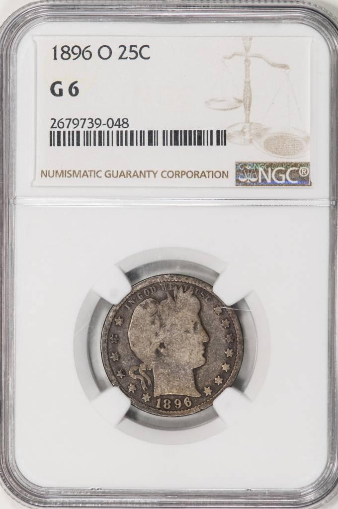 1896 O NGC G 6 Barber Quarter