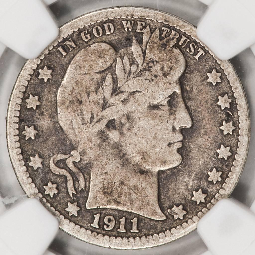 1911 D NGC VG 8 Barber Quarter