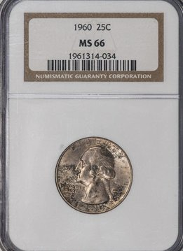 1960 NGC MS66 Washington Quarter