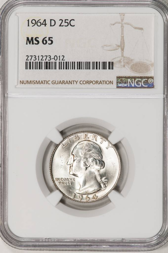 1964 NGC MS65 Washington Quarter