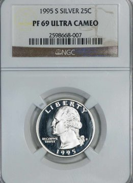 1995 S NGC PF69 Ultra Cameo SILVER Washington Quarter