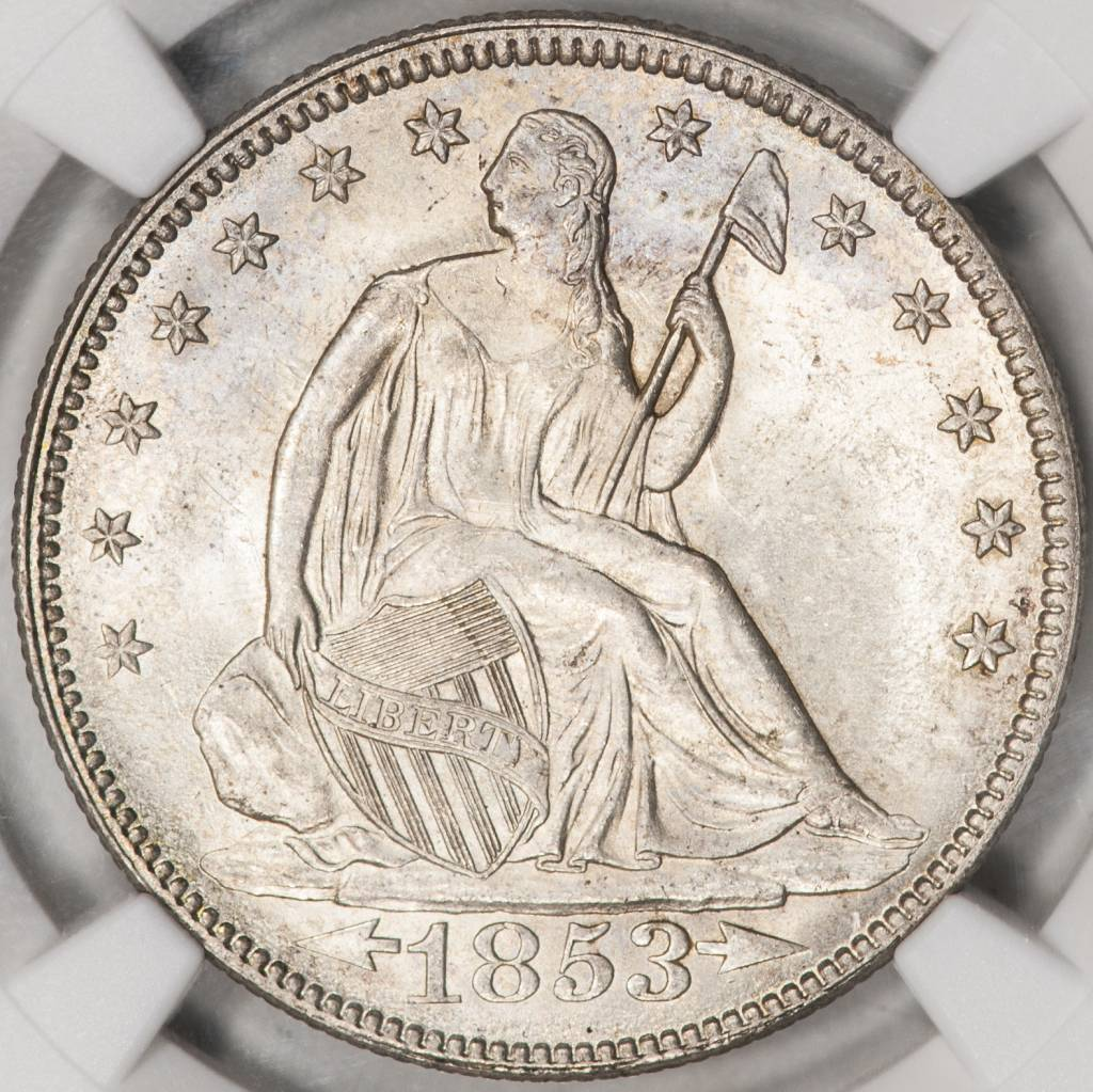 1853 NGC MS62 DDR Seated Liberty Half Dollar