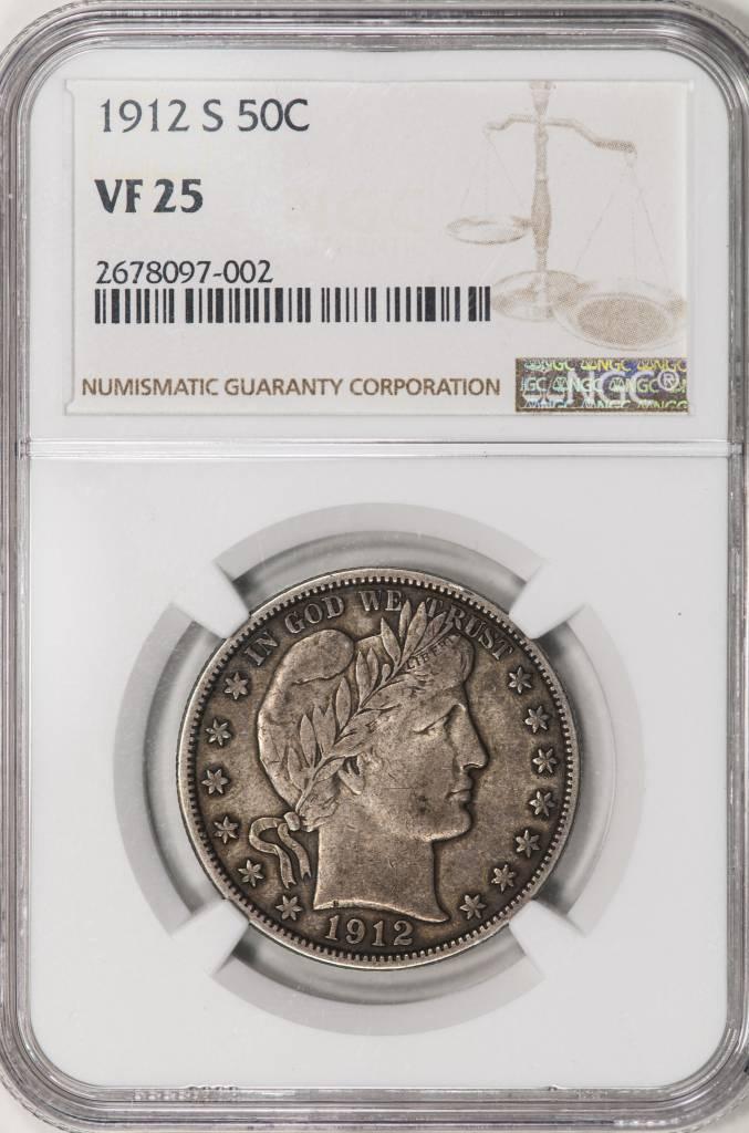 1912 S NGC VF25 Barber Half Dollar