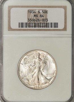1934-S NGC MS64 Walking Liberty Half Dollar