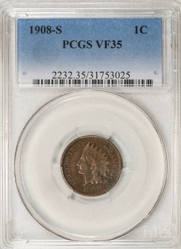 1908 S PCGS VF35 Indian Head Cent