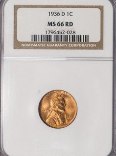 1936 D NGC MS66 RD Lincoln Cent