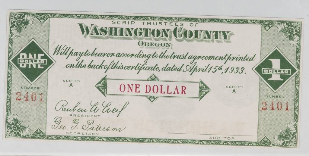 Hillsboro, Oregon $1 Washington County Scrip PMG EPQ65