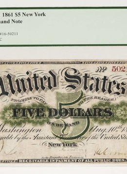 1861 PCGS VF25 $5 United States Demand Note