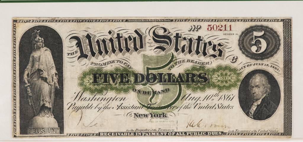 1861 PCGS VF25 $5 United States Demand Note