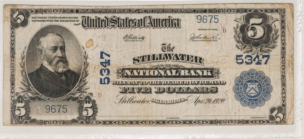1902 PMG VF25 $5 Plain Back Stillwater Oklahoma National Bank Note CH#5347
