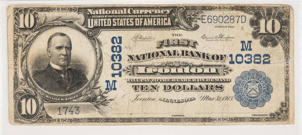 1902 PMG VF20 $10 Plain Back Ironton Minnesota National Bank Note CH#10382
